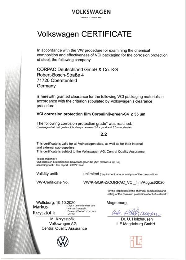 Volkswagen Certificate